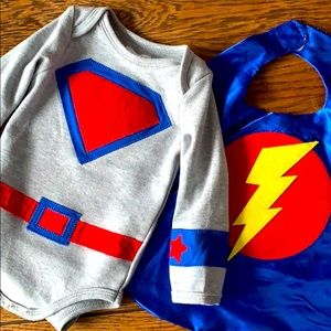 Mudpie Super hero costume, 9-12mo onesie and cape